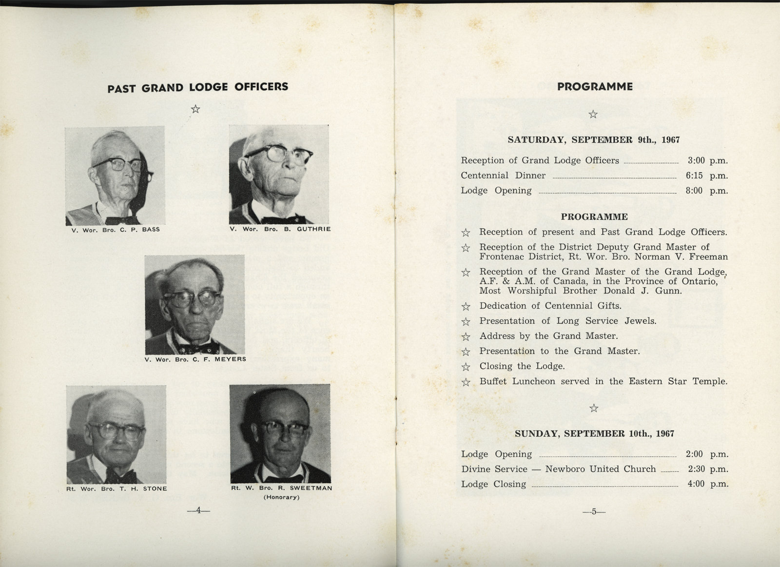 Simpson Masonic Lodge Booklet: Page 4 and 5