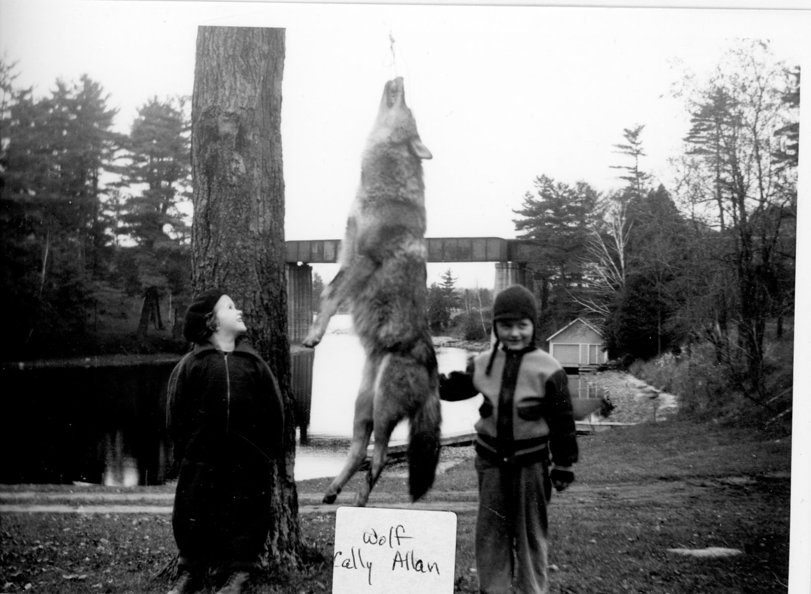 Callie and Allan Alford with wolf at Chaffey's Lock c.1950