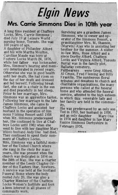 Obituary for Carrie Alford Simmons 1876-1976