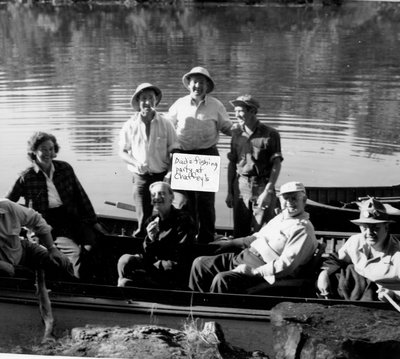 Fishing party at Chaffey's Lock with Allan Alford (guide)c.1950