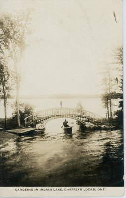 Canoeing on Indian Lake near Chaffey's Lock (postmarked 1928)