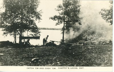 Catch em and cook 'em - Shore dinner near Chaffey's Locks c.1930