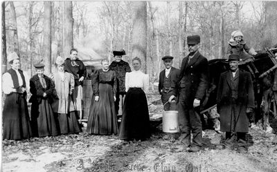 Earl family and friends in sugar bush near Elgin c.1905