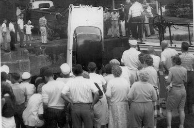 Car in locks at Chaffey's Lock July 1961