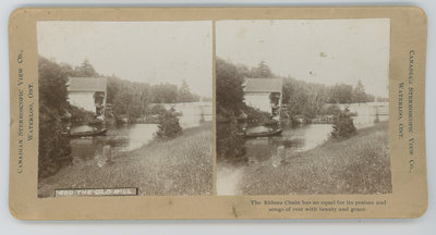 Stereograph of Chaffey's Lock grist mill c.1900