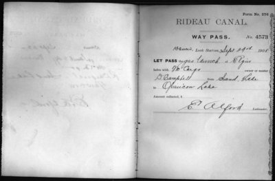 Waypass book for Davis Lock, Ontario 1908-1909.