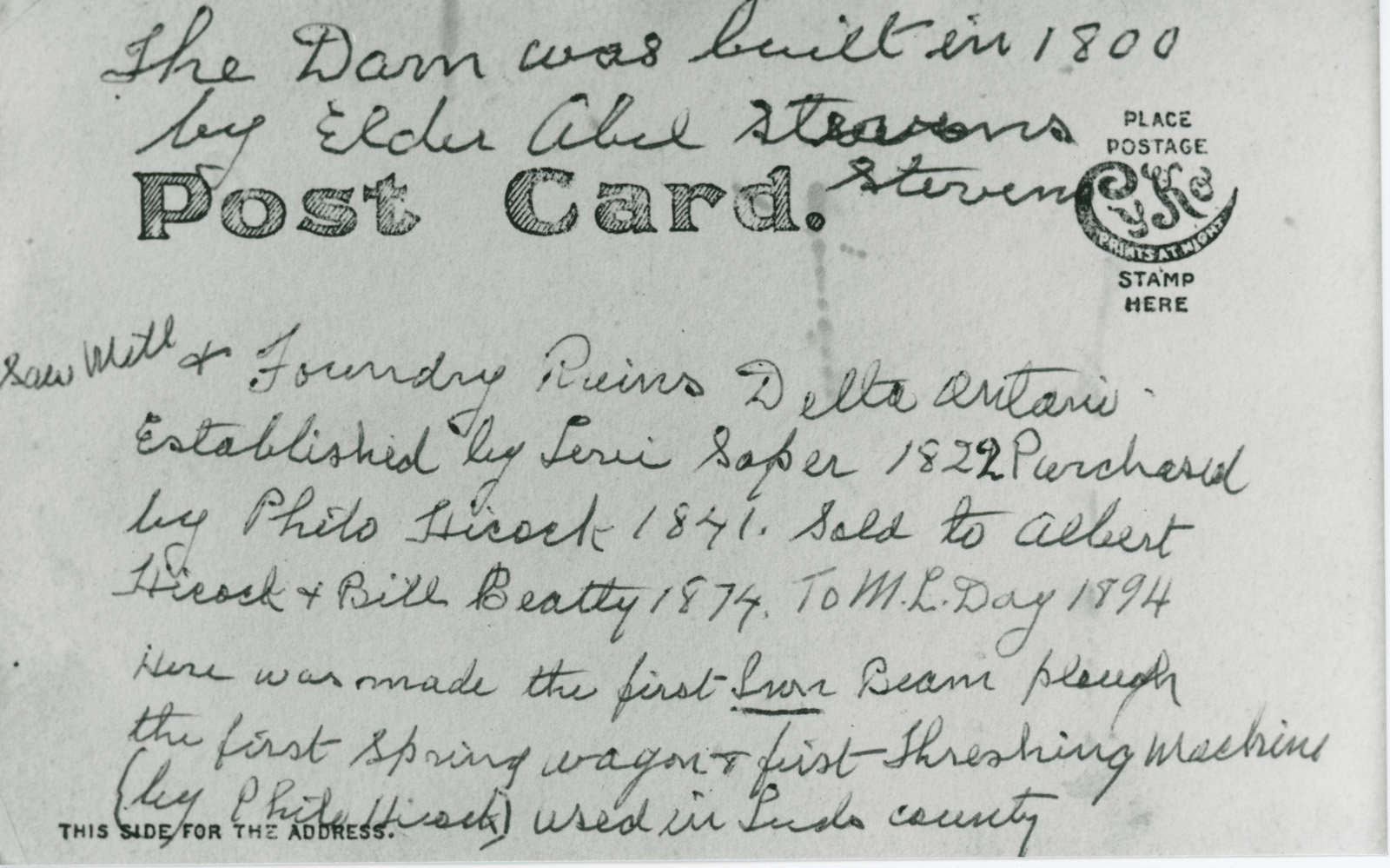 Back of Iron Foundry Ruin Postcard