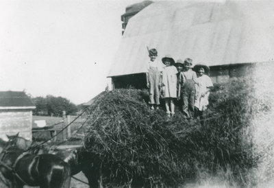 Children on Hay Wagon at the Morris Farm