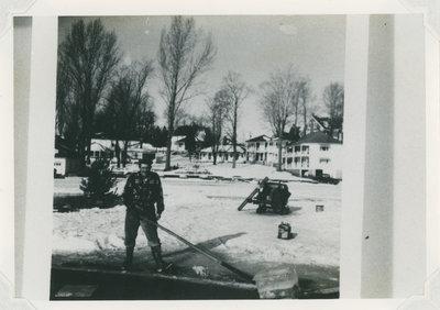 Ice cutting in Newboro Lake, Ontario