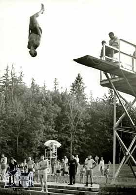 Pierre Trudeau doing a flip off a diving board