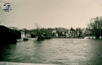 Flooding of Trout Creek and Water Street Bridge, April 1947