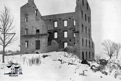 Ruins of Carter's Oatmeal Mill, Burned 1904