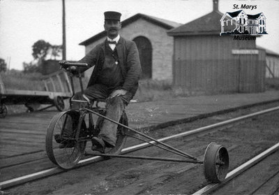 Robert Blundell on a Railway Velocipede