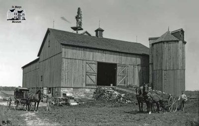 Tom and Bill McGee with their Barn, E. Nissouri, c. 1906