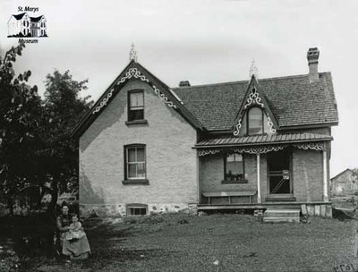 Woman, Child and Dog with Brick Farmhouse, c. 1902-1906