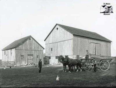 Barns, Horses and Three Farmers, c. 1902-1906