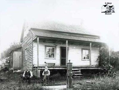 Two Men, Log Farmhouse, c. 1902-1906