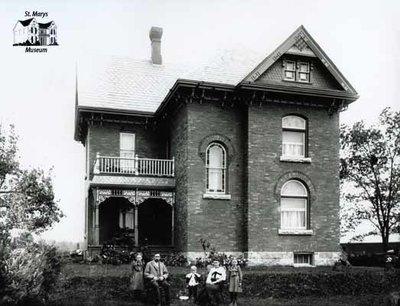 Family Portrait, Large Rural Brick House, c. 1902-1906