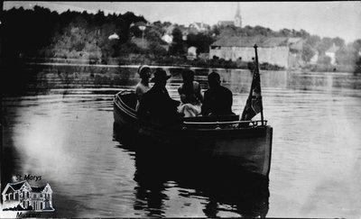 Four People in Rowboat Above the Dam, St. Marys