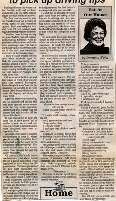 """It's never too late to pick up driving tips"", Eat at Our House, 25 October 1989"