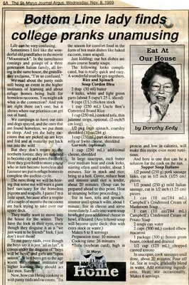 """Bottom Line lady finds college pranks unamusing"", Eat at Our House, 8 November 1989"