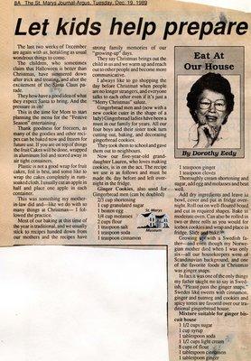"""Let kids help prepare gingerbread cookies"", Eat at Our House, 19 December 1989"