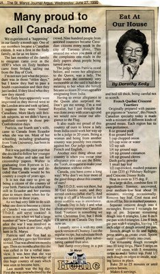"""Many proud to call Canada home"", Eat at Our House, 27 June 1990"