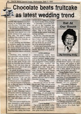 """Chocolate beats fruitcake as latest wedding trend"", Eat at Our House, 5 September 1990"