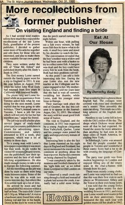 """""""More recollections from former publisher"""", Eat at Our House, 31 October 1990"""