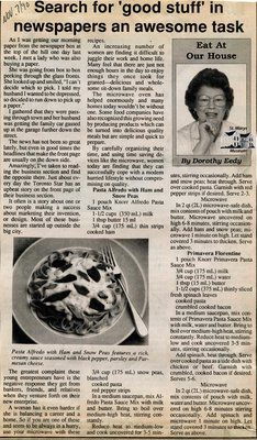 """Search for 'good stuff' in newspapers an awesome task"", Eat at Our House, 7 November 1990"