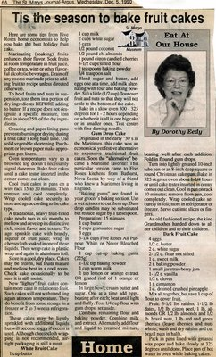 """Tis the season to bake fruit cakes"", Eat at Our House, 5 December 1990"