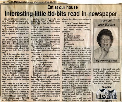 """Interesting little tid-bits read in newspaper"", Eat at Our House, 27 February 1991"