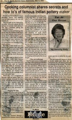 """Cooking columnist shares secrets and how to's of famous Indian pottery maker"", Eat at Our House, 6 March 1991"