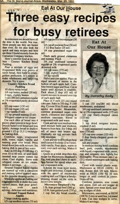 """Three easy recipes for busy retirees"", Eat at Our House, 20 March 1991"