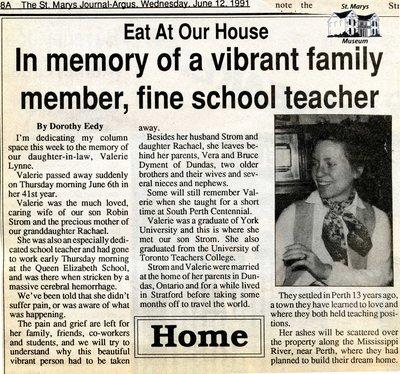 """In memory of a vibrant family member, fine school teacher"", Eat at Our House, 12 June 1991"