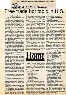 """""""Free trade hot topic in U.S."""", Eat at Our House, 14 December 1988"""