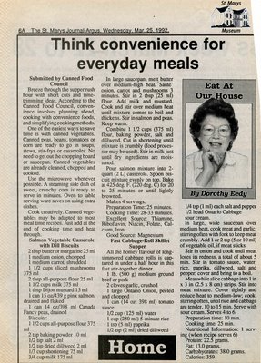 """Think convenience for everyday meals"", Eat at Our House, 25 March 1992"