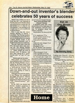 """Down-and-out inventor's blender celebrates 50 years of success"", Eat at Our House, 13 May 1992"