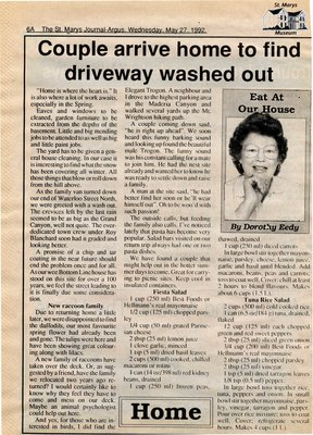 """""""Couple arrive home to find driveway washed out"""", Eat at Our House, 27 May 1992"""