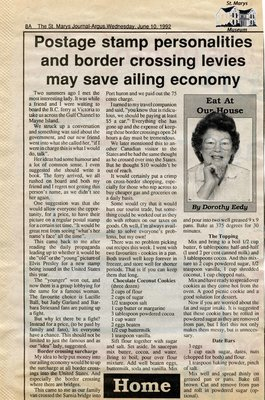 """Postage stamp personalities and border crossing levies may save ailing economy"", Eat at Our House, 10 June 1992"