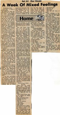 """""""A Week of Mixed Feelings"""", Eat at Our House, 17 June 1992"""