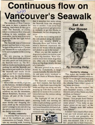 """Continuous flow on Vancouver's Seawalk"", Eat at Our House, February 1994"