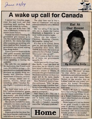 """A wake up call for Canada"", Eat at Our House, 29 June 1994"