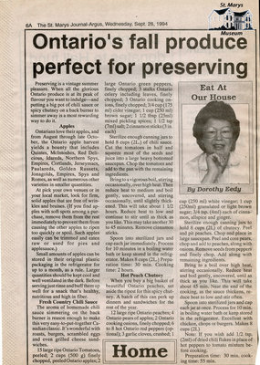 """Ontario's fall produce perfect for preserving"", Eat at Our House, 28 September 1994"