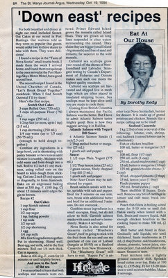 """'Down east' recipes"", Eat at Our House, 19 October 1994"