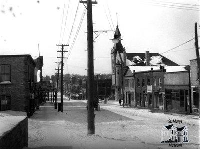 Looking Down Queen Street Towards Town Hall in Winter