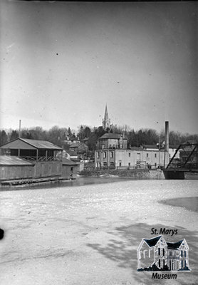 Water Street Bridge, Creamery, and Church at Winter