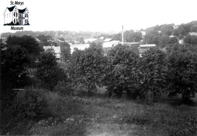 View of St. Marys from Hill by G.T.R. Station Looking North West