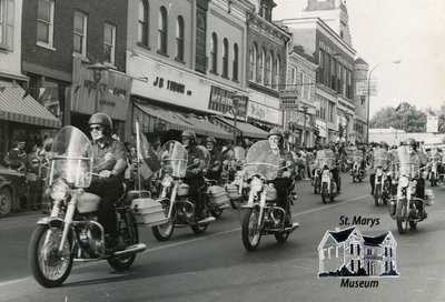 Group of Motorcycles Downtown St. Marys