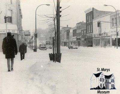 Downtown St. Marys in Winter, 1978